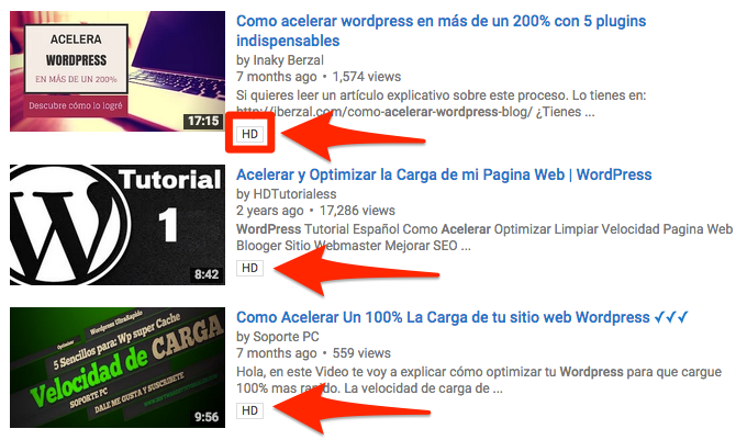 calidad HD en youtube
