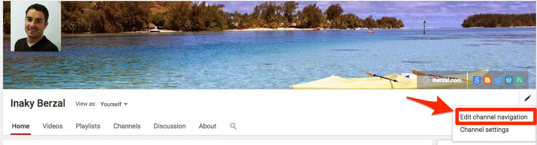 Youtube: cambiar navegación por el canal