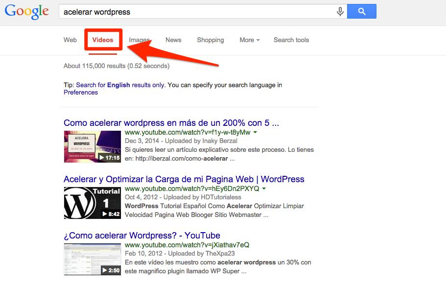pestaña videos de Google