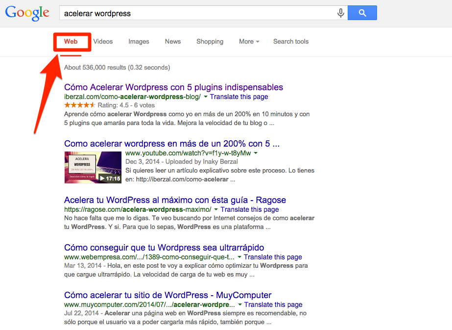 pestaña web de google
