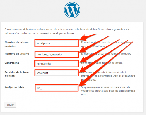 Datos de configuración Base de datos en Wizard WordPress